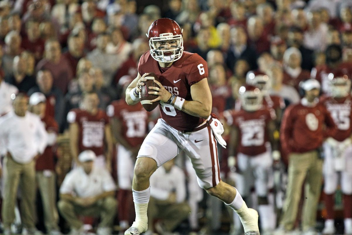 Image result for baker mayfield roll out senior bowl