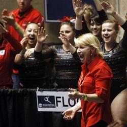 Utah cheers during the floor exercise at the NCAA Salt Lake Regional Gymnastics Saturday, April 7, 2012 in Salt Lake City.