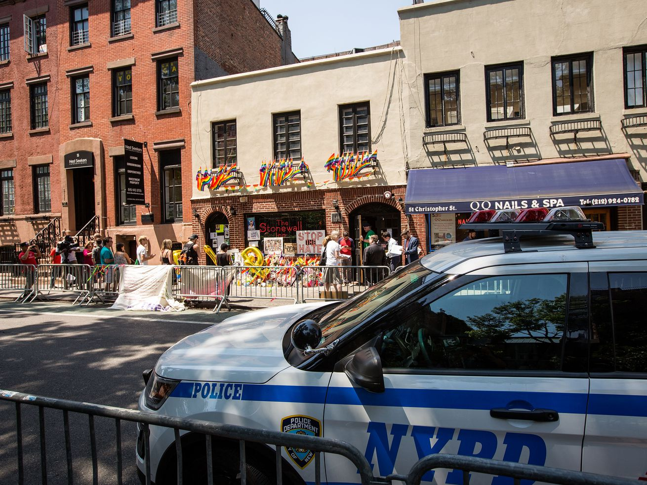 A New York City Police Department car sits outside the Stonewall Inn on June 24, 2016. The NYPD refused for years to apologize for the Stonewall raid.