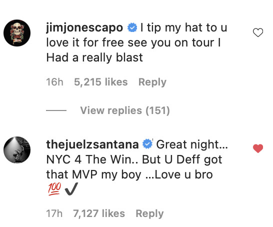 Jim Jones, Juelz Santana Instagram comments
