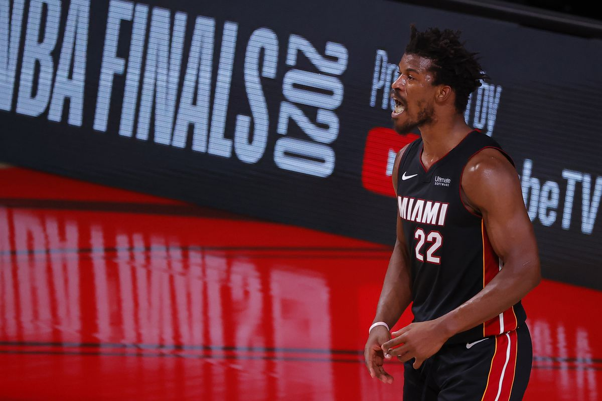 Jimmy Butler of the Miami Heat reacts during the second half against the Los Angeles Lakers in Game Three of the 2020 NBA Finals at AdventHealth Arena at ESPN Wide World Of Sports Complex on October 04, 2020 in Lake Buena Vista, Florida.
