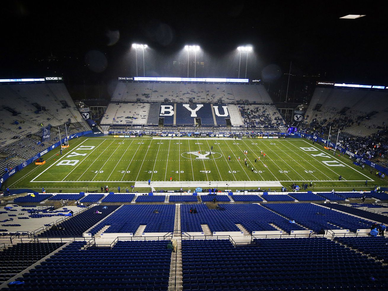 Rain falls at LaVell Edwards Stadium about an hour before Brigham Young University faces Boise State in NCAA football in Provo on Saturday, Oct. 19, 2019.