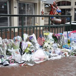 The Ernie Banks memorial tribute on Addison, now missing the jersey originally placed here