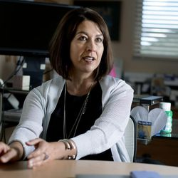 """Park City School District Superintendent Ember Conley talks about the article """"An Opioid Crisis Hits Home"""" that she wrote for the magazine AASA School Administrator during an interview in her office in Park City on Friday, Aug. 11, 2017."""