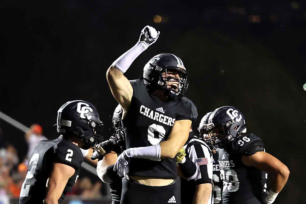 Corner Canyon's Harrison Taggart celebrates a stop during a high school football game at Corner Canyon in Draper on Friday, Sept. 24, 2021. Corner Canyon won 38-23.