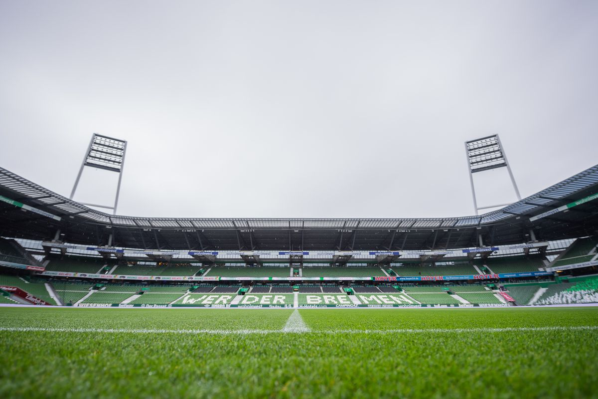 A general view of the pitch at the Weser-Stadion before the game between Werder Bremen against Hertha BSC on october 19, 2019 in Bremen, Germany.