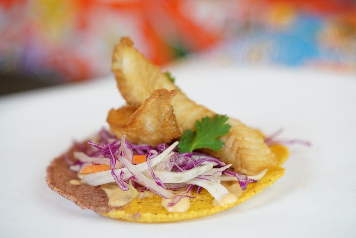 Fish chicharron at Santos Guisados Tacos & Beer