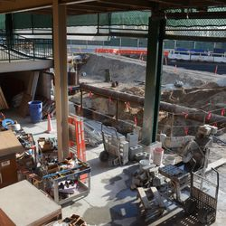 """6:09 p.m. Another view of the new west gate, from the """"plaza"""", still under construction -"""