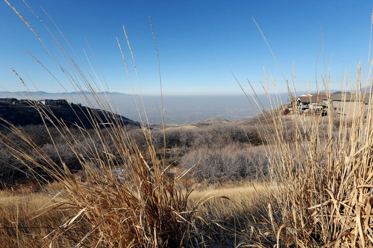 Haze settles in the Salt Lake Valley on Monday, Dec. 11, 2017.