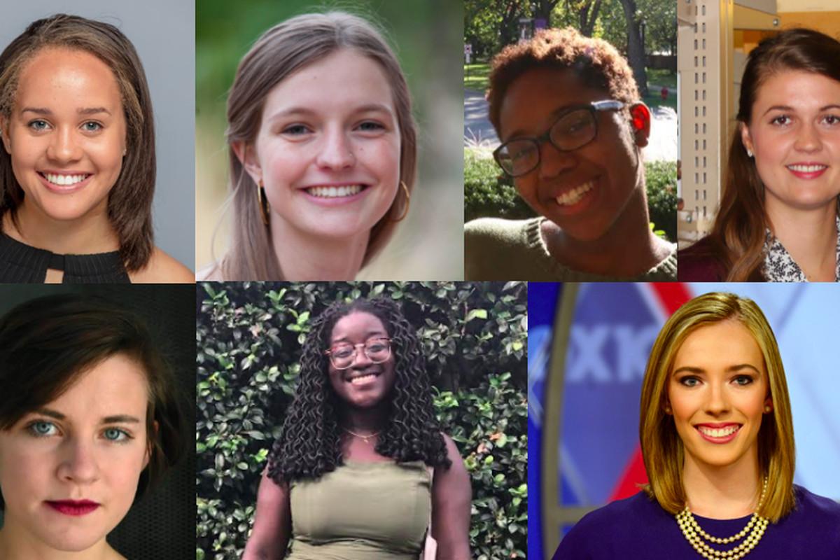 Chalkbeat's 2019 summer interns. Clockwise, starting in the upper left: Camille Respess, Caity Henderson, Imani Harris, Kathryn Palmer, Kati Weis, Zipporah Osei, Erica Irish