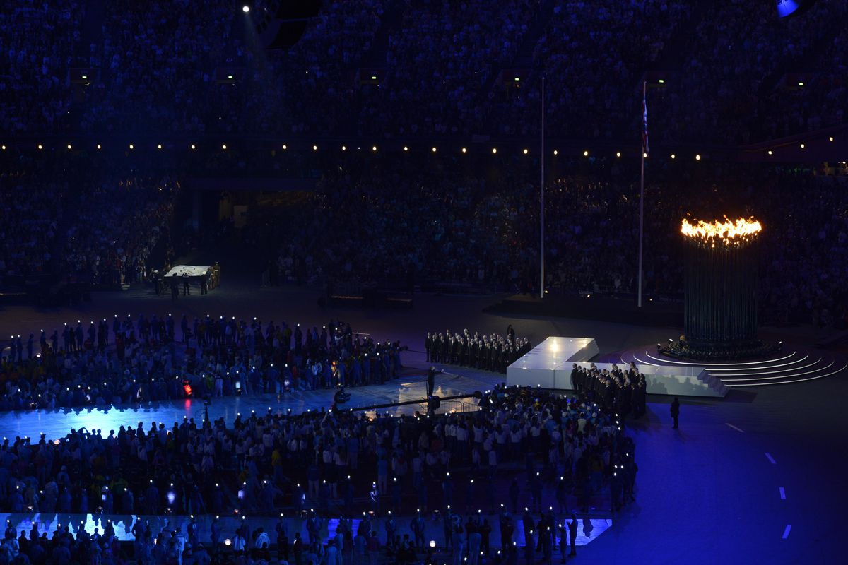 Aug 12, 2012; London, United Kingdom; General view of the stadium with the Olympic Cauldron during the London 2012 Olympic Games at Olympic Stadium. Mandatory Credit: Richard Mackson-USA TODAY Sports