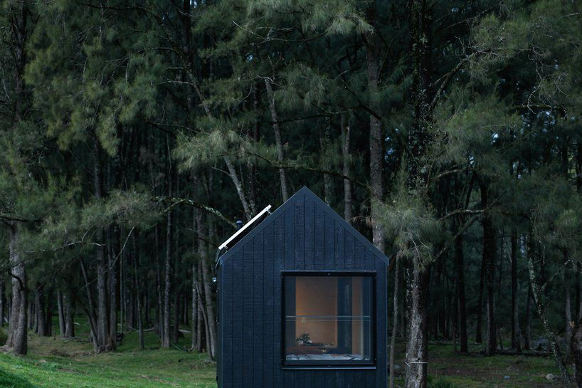 A pitch-roofed black cabin features one large picture window. The house has solar panels on one side of the roof. A forest is in the background.