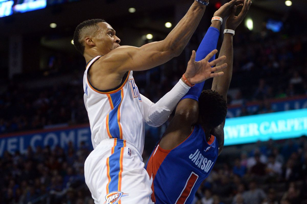 Russell Westbrook, scoring over an unknown man.