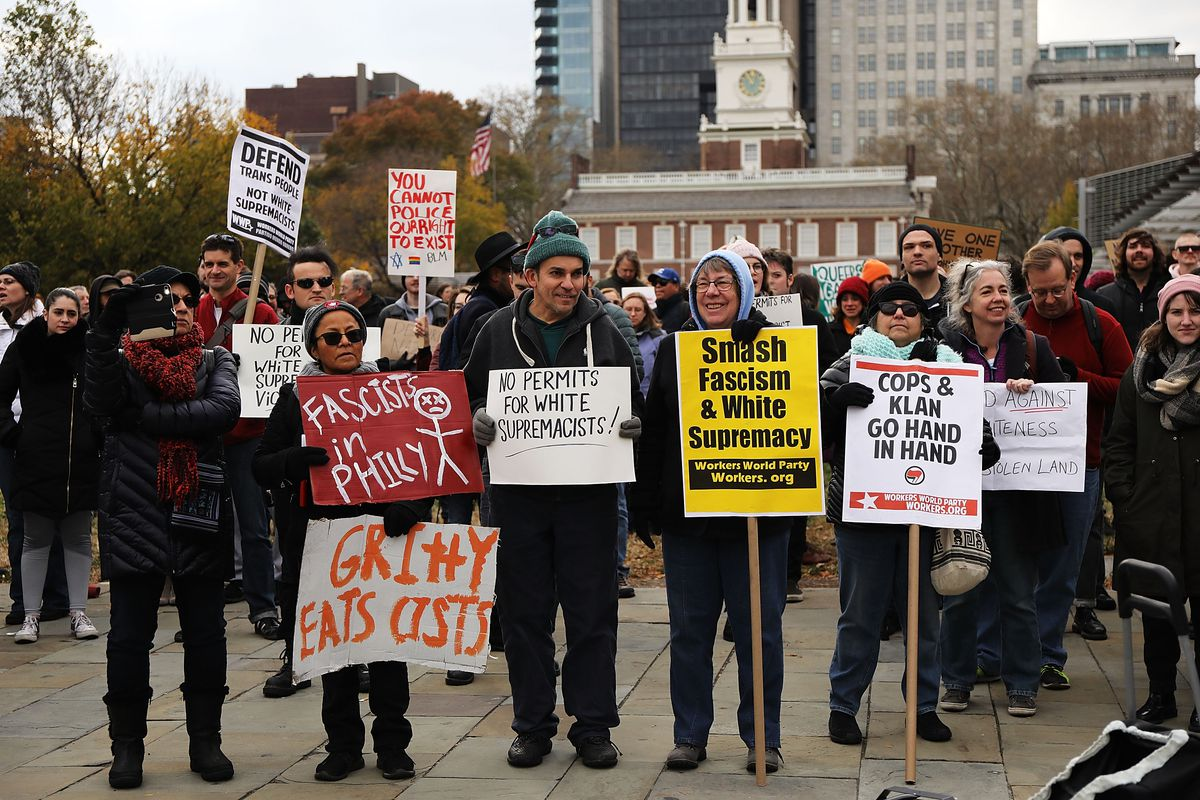 Far Right Conservatives Attend 'We The People' Rally In Philadelphia Amid Counter Protests