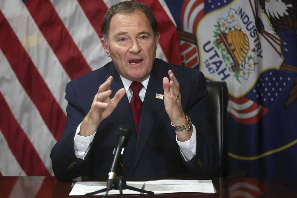 FILE - Gov. Gary Herbert speaks to members of the media about tax reform and other current affairs at the Capitol in Salt Lake City on Thursday, Feb. 14, 2019. There were no proposed fixes to the state's tax structure discussed during the first meeting Th