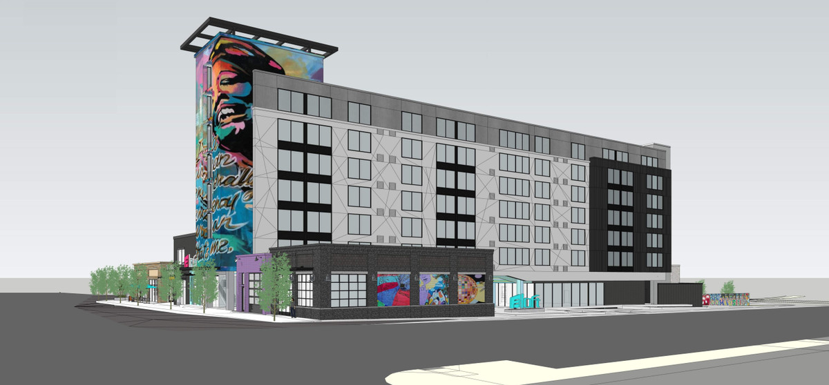 A rendering shows what the Hank Aaron side of the hotel would look like.