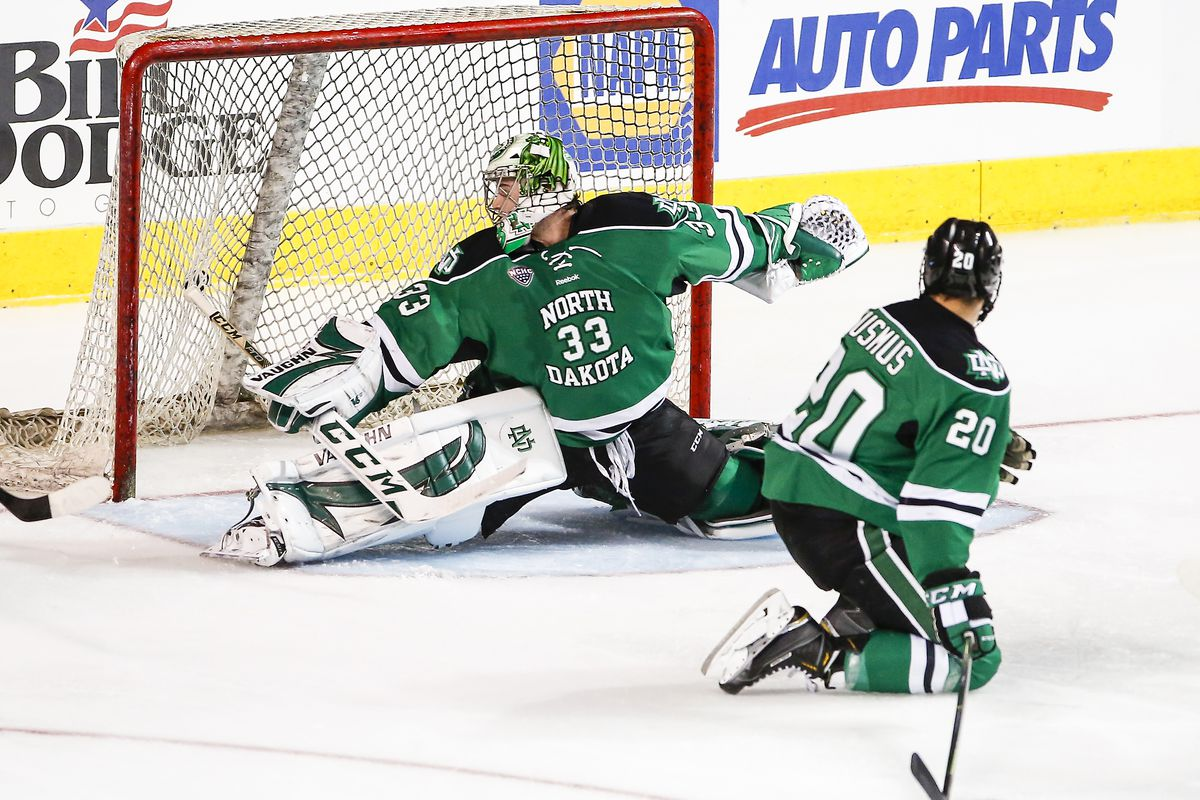 Cam Johnson reaches to make a save in North Dakota's 5-2 win over Lake Superior on Friday night at the IceBreaker in Portland, Maine.
