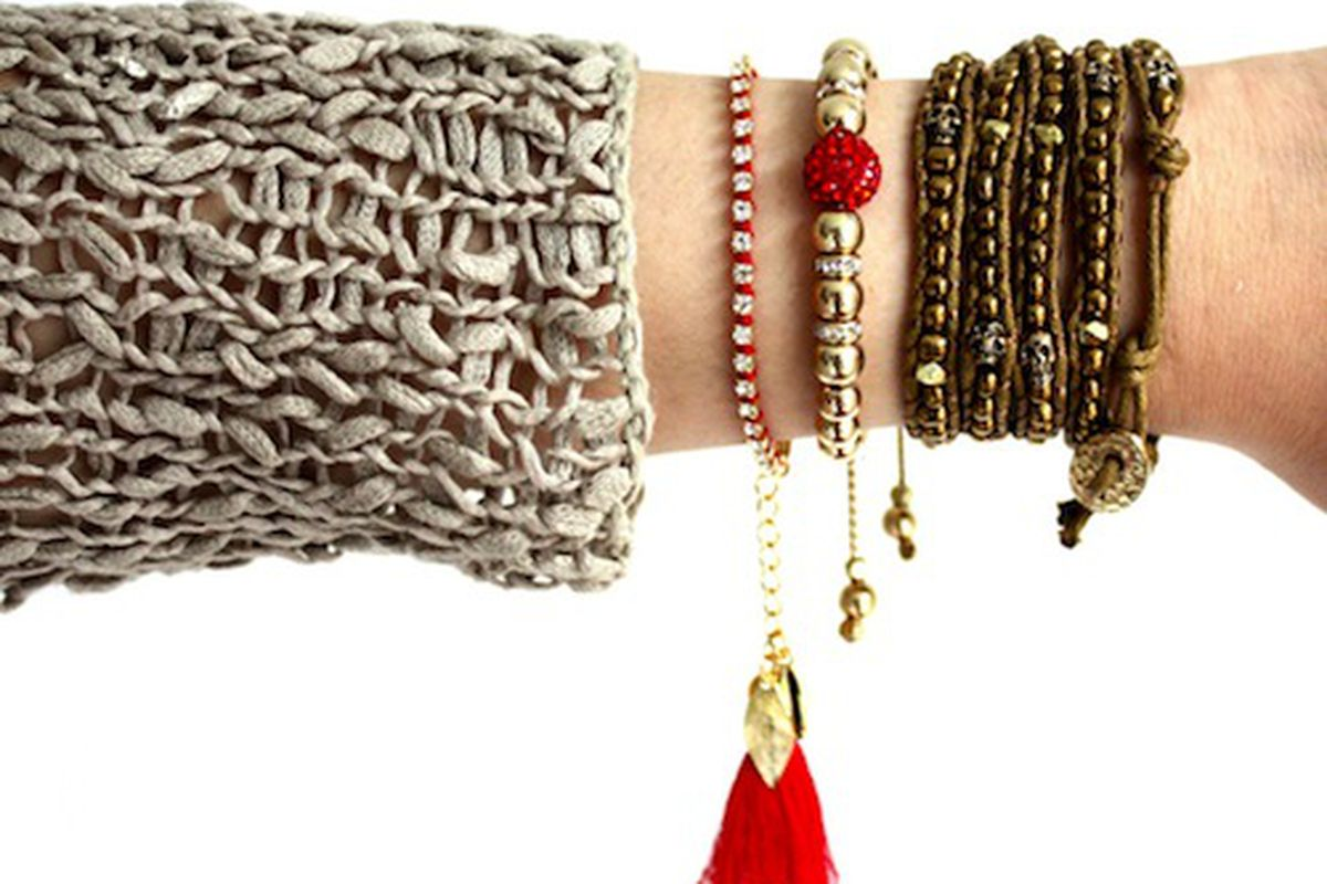 """Image via <a href=""""http://hystericco.com/collections/armstacks/products/red-shamballa-summer-stack"""">Hysteric Co.</a>"""