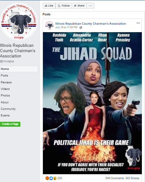 After post about 'the jihad squad,' on GOP Facebook page