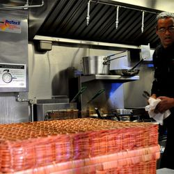 Herb Wilson of SushiSamba works on one of the food trucks.