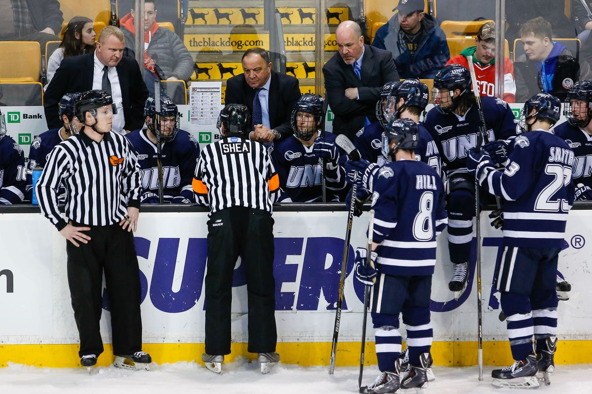 Dick Umile and the UNH Wildcats visit Merrimack Saturday night.
