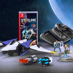 The contents of the physical edition of Starlink: Battle for Atlas for the Nintendo Switch. Not shown are additional digital items, including a second starship.