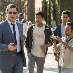 In Walt Disney Pictures Million Dollar Arm, Jon Hamm (left) stars as sports agent J.B. Bernstein. Center left to right: Madhur Mittal, Suraj Sharma and Pitobash also star.