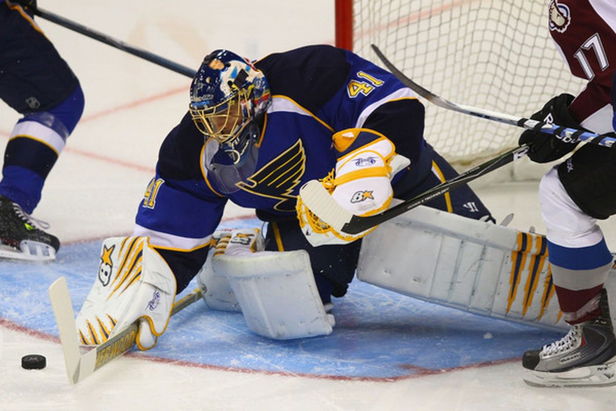 ST. LOUIS - SEPTEMBER 21: Jaroslav Halak #41 of the St. Louis Blues makes a save against the Colorado Avalanche during a pre-season game at the Scottrade Center on September 21 2010 in St. Louis Missouri.  (Photo by Dilip Vishwanat/Getty Images)