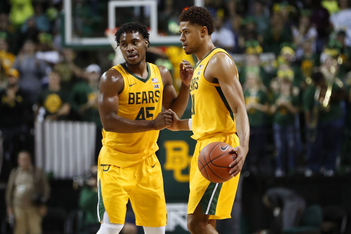 Baylor Bears guard Davion Mitchell and guard MaCio Teague celebrate after the game against the TCU Horned Frogs at Ferrell Center.