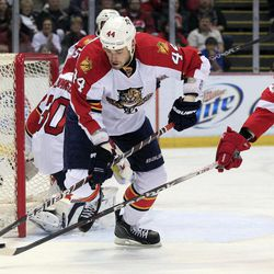 Detroit Red Wings left wing Drew Miller, right, tries to control the puck in front of Florida Panthers defenseman Erik Gudbranson (44) during the first period of an NHL hockey game in Detroit, Sunday, April 1, 2012.