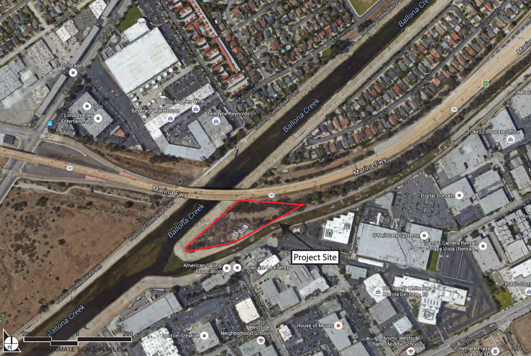 An aerial view of the project site, a peninsula-shaped protrusion along the Ballona Creek.
