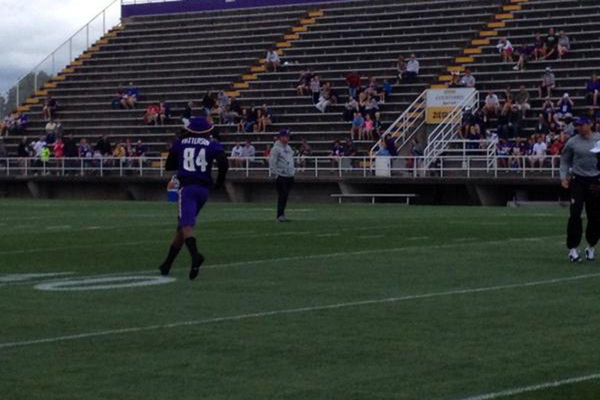 Cordarrelle Patterson runs a route during today's morning practice.