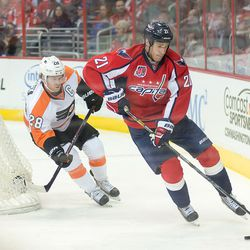 Laich Skates Behind Flyers Net With Puck