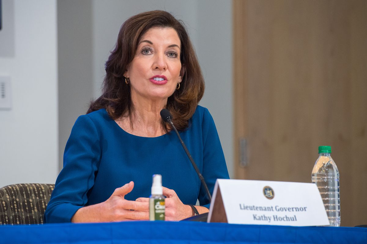 January 25, 2021-Buffalo- Governor Andrew Cuomo with Lt. Governor Kathy Hochul hold a COVID-19 press briefing update in Buffalo at Roswell Park.