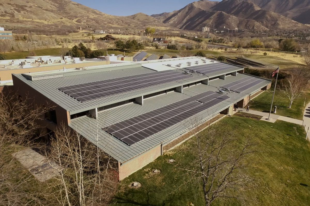 The new solar array at 729 Arapeen Drive in the University of Utah's Research Park.