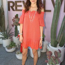 Camilla Belle in a Tory Burch dress and Stella & Dot jewelry.