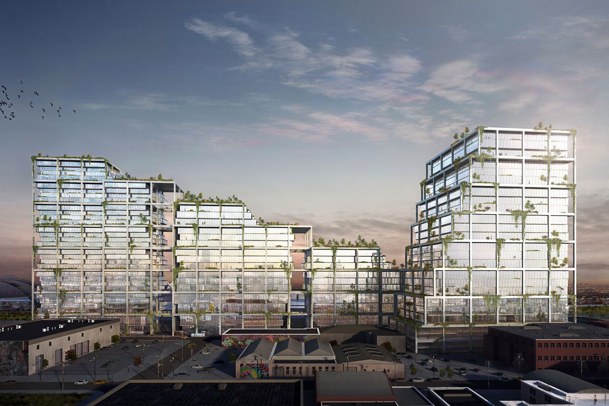 A rendering of the Mesquit project designed by Bjarke Ingels. There are a group of buildings with glass facades. A courtyard is in the center of the buildings.