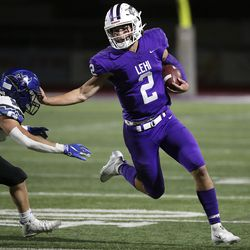 Pleasant Grove plays Lehi in a football game at Lehi High School in Lehi on Friday, Sept. 11, 2020. Pleasant Grove won 35-29 in overtime.