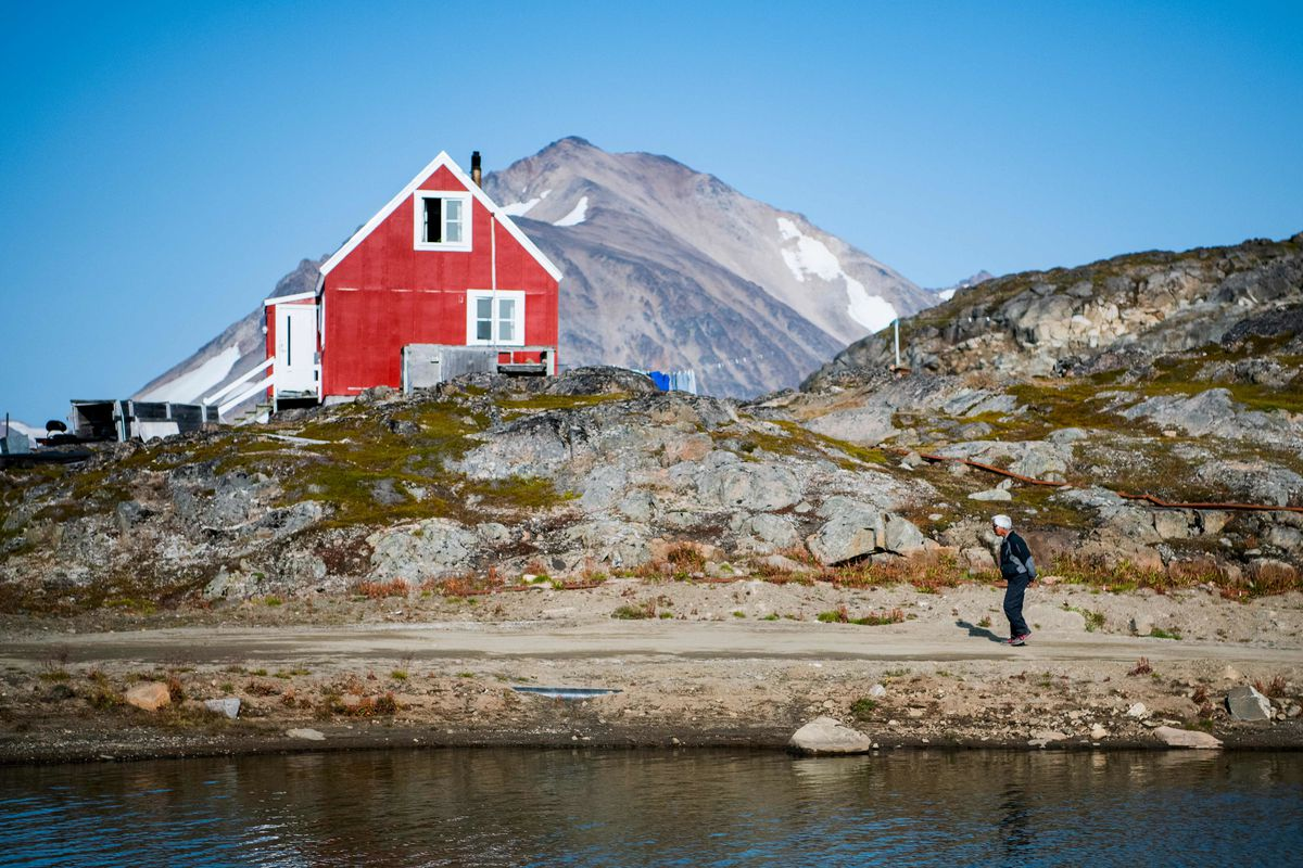 A resident out for a walk in Kulusuk, Greenland.