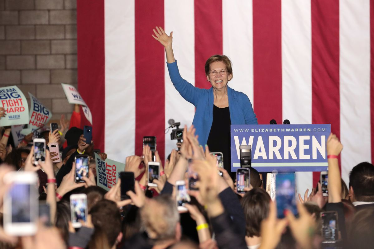 Democratic presidential candidate Sen. Elizabeth Warren speaks to supporters during a rally at Eastern Market on Tuesday in Detroit, Michigan.