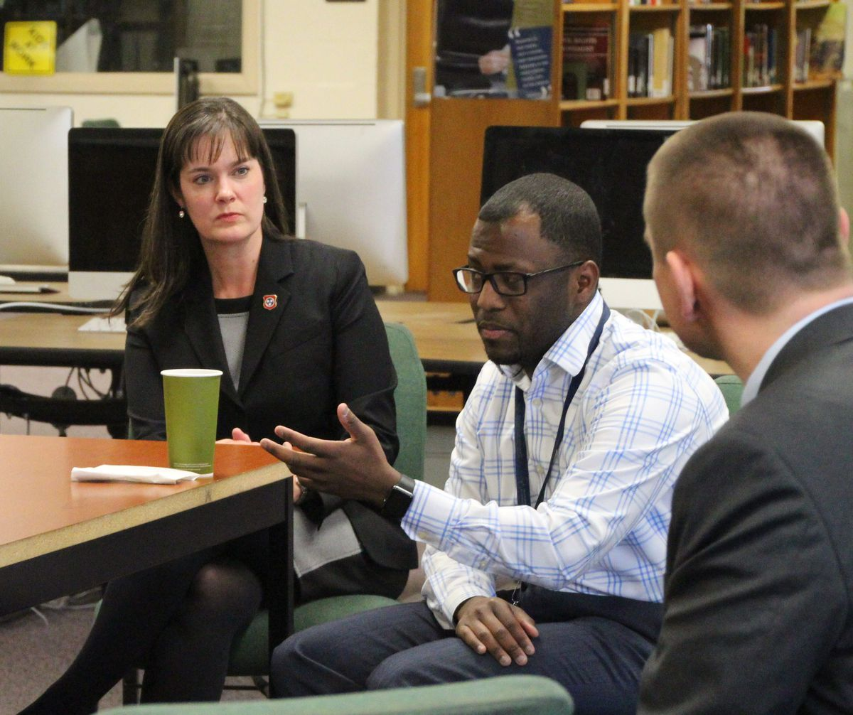 Education Commissioner Candice McQueen joins Osborn during meetings with community stakeholders.