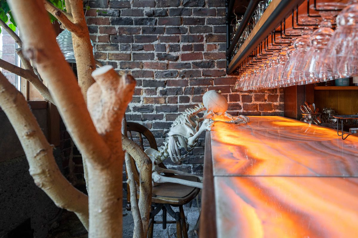 A fake human skeleton is propped up against a honey-colored bar with a trunk of a tree in the foreground and glasses hanging above.