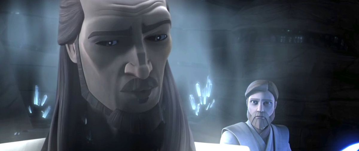 qui-gon returns as a force ghost for obi-wan's training in the clone wars animated series