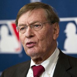 """FILE - This Nov. 17, 2011 file photo shows Major League Baseball commissioner Bud Selig speaking after an owners meeting in Milwaukee. Major League Baseball appears unlikely to interfere if Melky Cabrera wins the NL batting title while serving his 50-game suspension for a positive drug test. Says baseball Selig: """"We'll see how it all plays out. We generally don't interfere in that process. We'll take a look at it at the end of the year."""" Selig spoke Wednesday, Sept. 19, 2012,  after a taping of the YES Network's """"CenterStage."""""""