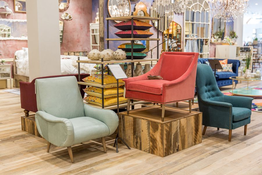 Anthropologie 39 s upgraded newport beach store offers major for Home decor furniture catalog