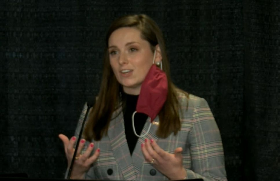 State Rep. Avery Bourne, R-Morrisonville, at a news conference at the Bank of Springfield Center in January.