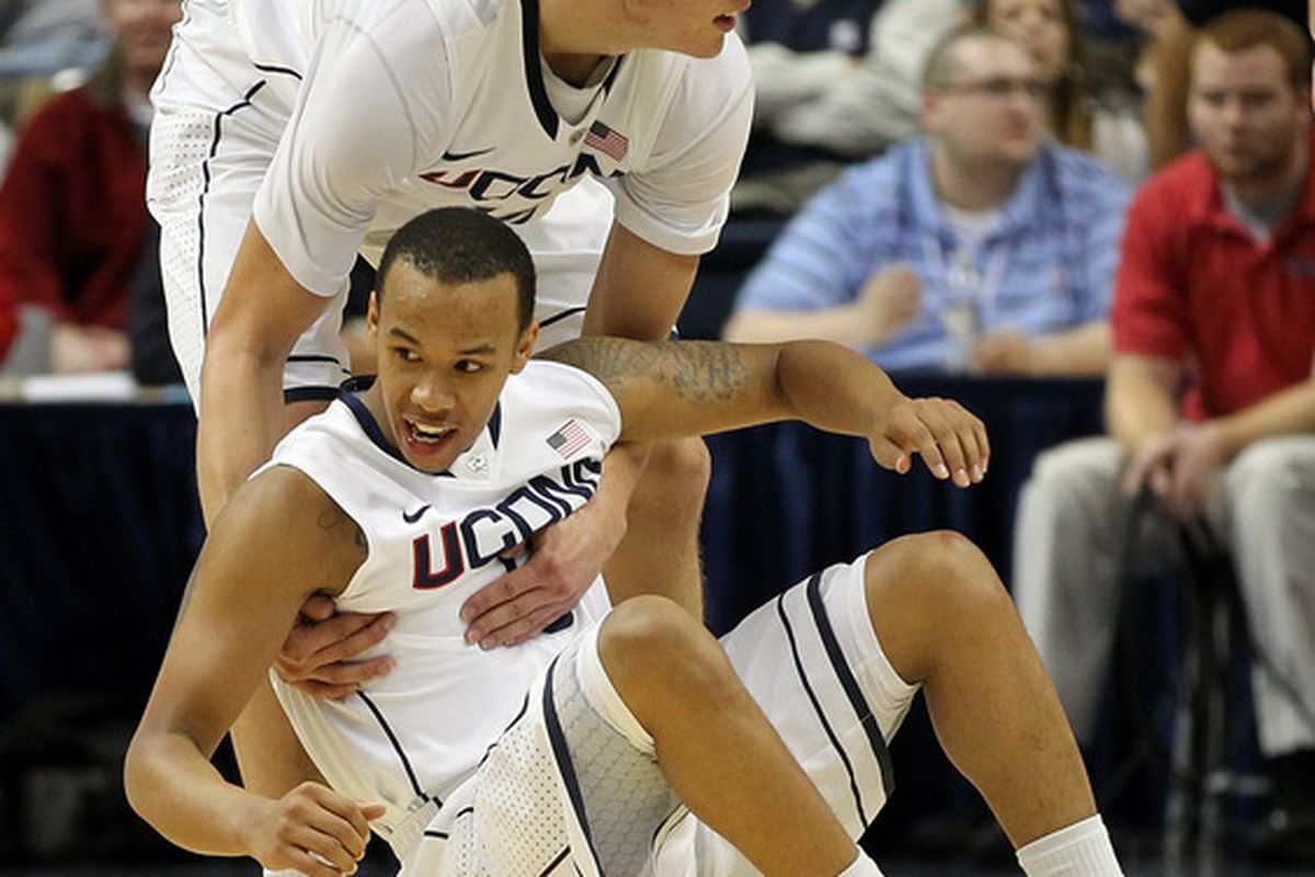 Tyler Olander, seen here picking up Shabazz Napier, will face off against his brother Ryan tomorrow night at the XL center.