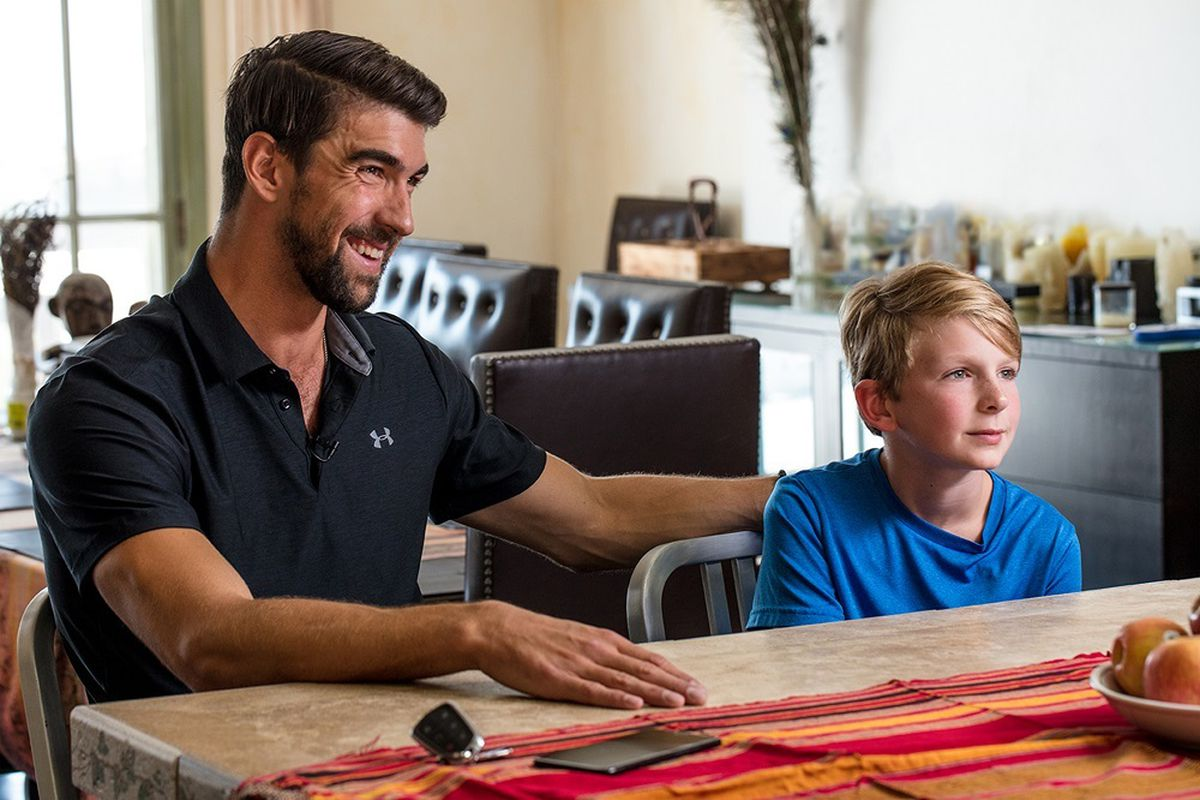 """Michael Phelps, left, in the film """"Angst."""""""