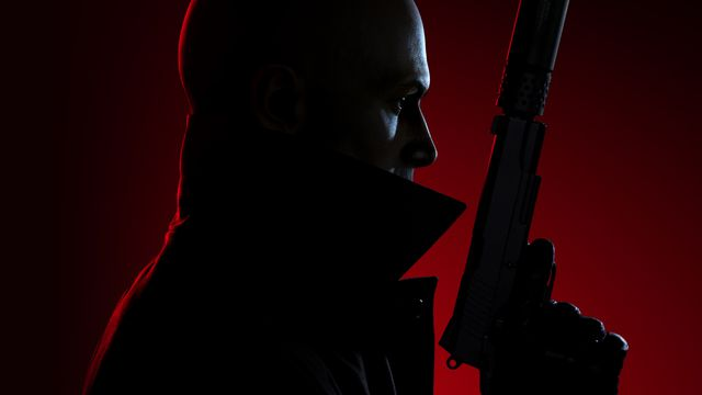 Hitman 3 artwork: a profile shot of Agent 47 holding up a silenced pistol with a red light shining from behind him