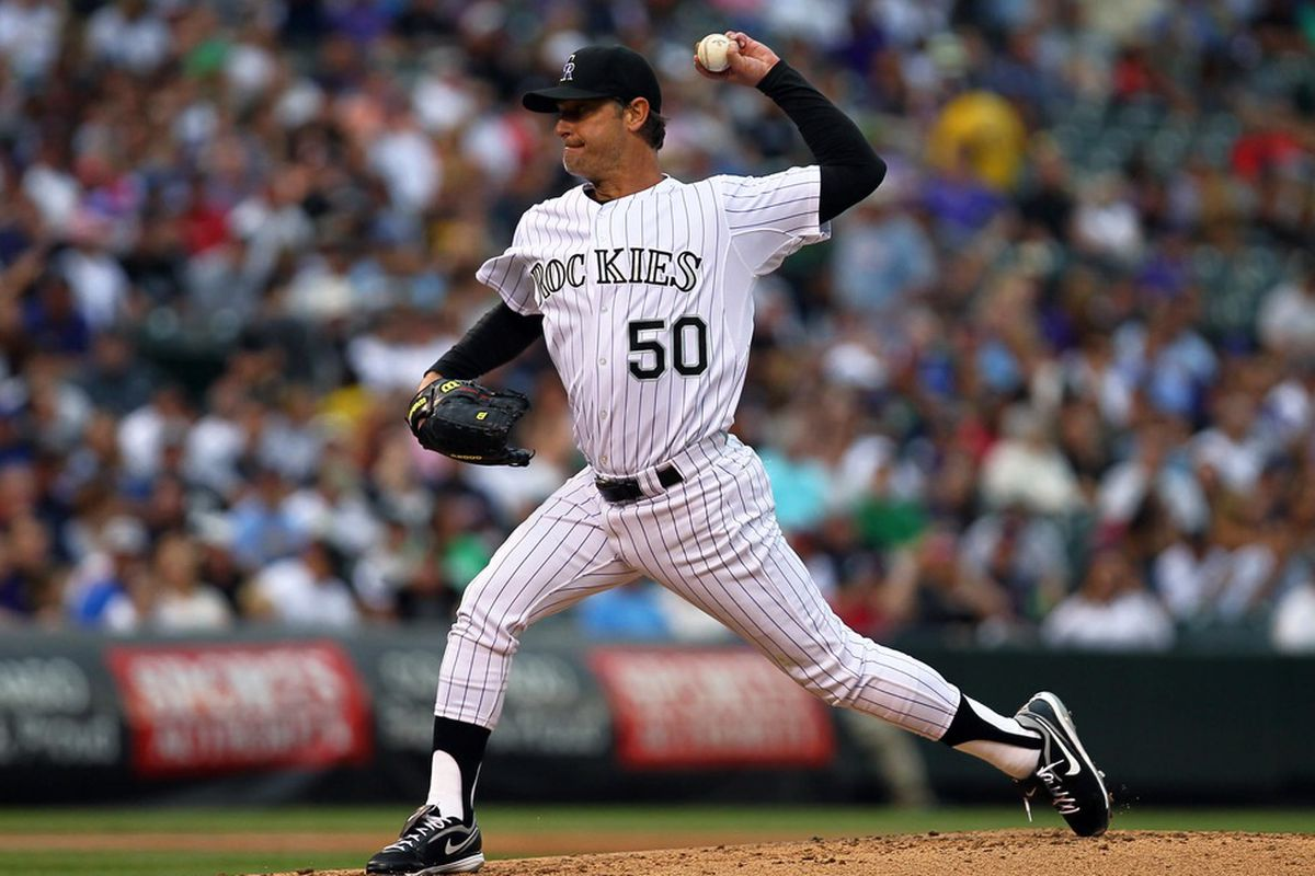 May 5, 2012; Denver, CO, USA; Colorado Rockies starting pitcher Jamie Moyer delivers a pitch against the Atlanta Braves at Coors Field. Mandatory Credit: Andrew Carpenean-US PRESSWIRE